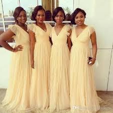 Cap Sleeve Bridesmaid Dresses Floor Length by Yellow African Bridesmaid Dresses Cheap 2017 Cap Sleeve V Neck A
