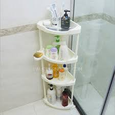 four layers white plastic corner bathroom free standing shelves