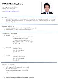 Agreeable Resume Sample Philippines 2017 For Your Example Of A Format