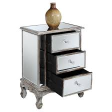 Gold Coast Vineyards 3 Drawer Mirrored End Table Weathered White