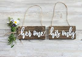 Rustic Wedding Decor Photo Props Engagement Chair Signs Her One His Only Mr Mrs