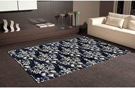 teppich bettvorleger pvc motive damaskus weiß boden blau