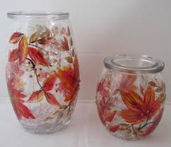 Crackle Glass Bathroom Set by Yankee Candle Autumn Leaves Foliage Crackle Glass Cylinder