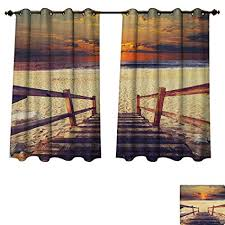 Beach Blackout Thermal Backed Curtains For Living Room Stairs Lead To The With Dramatic Horizon