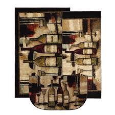 Mohawk Home New Wave Wine And Glasses Printed Rug 3 Piece Set Brown
