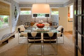 Inspired Sheepskin Rug In Dining Room Modern With Bamboo Wallpaper Next To Ikea Pull Out Pantry Alongside And Glass Table