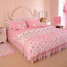 Luxury Cotton Bedding Sets with Lace Bed Skirt Girls Fashion Gift
