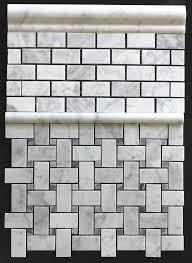 bianco carrara basketweave with gray bardiglio dot honed mosaic