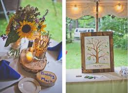Rustic Summer Wedding Sunflower And Lavender Centerpieces With Candles Tree Guest Book