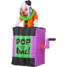 Halloween Yard Inflatables 2015 by Animated Airblown W Sound Jack In The Box Scary Clown 4 5