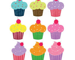 Instant Download 12 Cup Cake ClipArt Party CupCake ClipArt PNG file 300 dpi