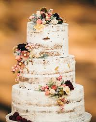 Fall Wedding Cakes Unique Floral Semi Naked Rustic Cake