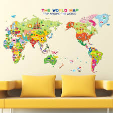 2018 colorful world map wall sticker decal vinyl room