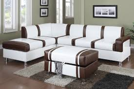 Poundex 3pc Sectional Sofa Set by Ultra Modern Two Tone Faux Leather Sectional Sofa With Ottoman