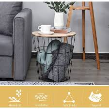homcom metallkorb mit holzdeckel schwarz natur 39 5 x 43 cm øxh beistelltisch wohnzimmertisch nachttisch couchtisch