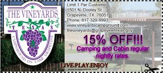 The Vineyards Campground & Cabins on Lake Grapevine Coupon
