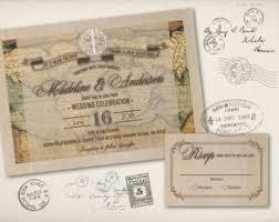 Wedding Invitation World Map Old Fashioned Vintage Rustic Destination Abroad Travel