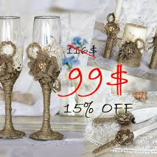 Rustic Wedding Set Of Burlap Flowers Lace And Rope Glasses Unity Candles