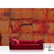 vlies fototapete no 826 3d tapete abstrakt wand platten zahlen rost nieten design 3d rot
