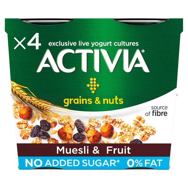 Activia Muesli and Fruit 0 Percent Fat Yogurt - 120g, 4ct