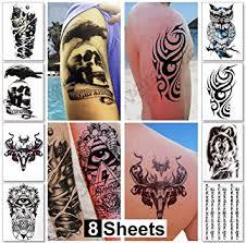 8 Sheets Temporary Tattoos For Guys Men