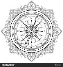 Graphic Wind Rose Compass Drawn In Line Art Style Coloring Book Page Design For Adults And Kids