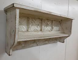 Primitive Wall Shelf Rustic White Colored Rectangular Shape Classic Design Hook Hanger Bottom