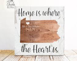 Home Is Where The Heart Sign State Personalized Family