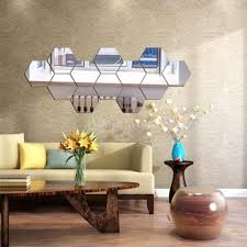 12 stücke hexagon 3d spiegel wandaufkleber selbstklebende kunst dekoration silber wie beschrieben