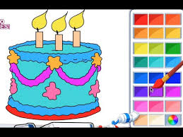 Kids Coloring Book Color A Birthday Cake Kids Coloring Book
