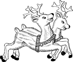 Johnny Automatic Reindeer Xmas Christmas Coloring Book Colouring Black White Line Art 555px