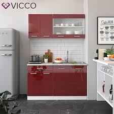 vicco küchenzeile single einbauküche 140 cm küche rot bordeaux hochglanz r line