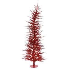 Pre Lit Pencil Slim Christmas Trees by Red Artificial Christmas Trees