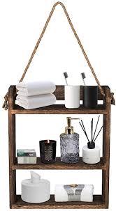 rustikales badezimmer regal wandregale leiterstil seil hängeregal aus holz hängeregal toilettenhandtuch papier organizer für badezimmer küche