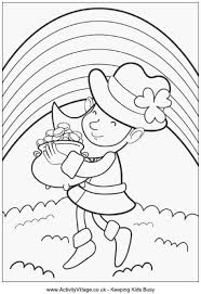 Leprechaun With Pot Of Gold Colouring Page