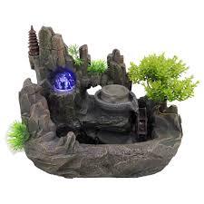 zimmerbrunnen brunnen aus polyresin mit led beleuchtung tischbrunnen mit deko steingarten und teich wasserspiel desktop wasserfall mit pumpe fur büro