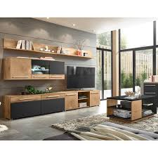 wohnzimmer set modern lombardo 61 in wotan eiche nb mit anthrazit u