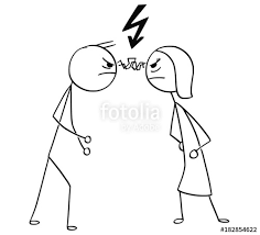 Vector Cartoon Of Man And Woman In Fight Anger With Lightning Bolt Flash Symbol