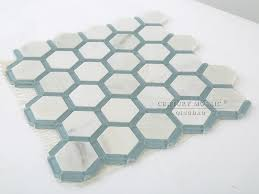 blue and white marble mix glass hexagon floor mosaic bathroom tile