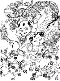 Adult Coloring Page China Dragon Dance 1