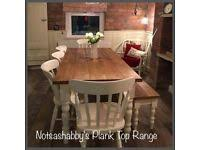 STUNNING NEW HANDMADE 6FT PINE FARMHOUSE TABLE BENCH AND CHAIRS