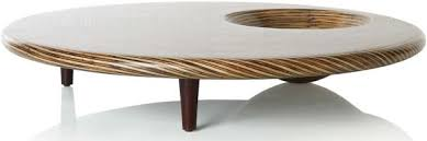 Coffee Tables DecorRound Modern Table Hardwood Hole Accessories Decorative Pattern Multiple Legs Pillars
