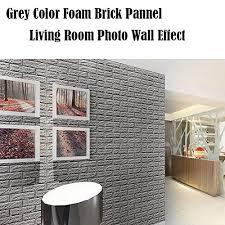 3D Foam Wall Panels Grey Color Peel And Stick Brick Wallpaper POPPAP