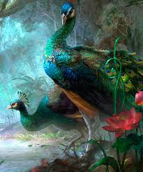 Image Result For Buddha And Peacock Painting