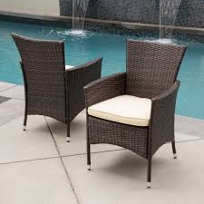 Shop Malta Outdoor Wicker Dining Chair With Cushion By Christopher Knight Home Set Of 2