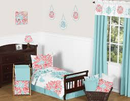 Coral Colored Bedding by Sweet Jojo Designs Turquoise And Coral Emma Toddler Bedding 5pc Set By