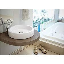 design waschbecken aufsatzwaschbecken klein rund 405x405x130mm in weiß mit lotus effekt aufsatzwaschbecken waschschale tebas of baan