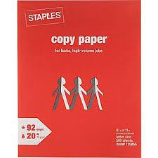 StaplesR Copy Paper 8 1 2