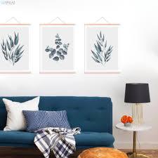 minimalistischen grün eukalyptus blätter holz gerahmte poster skandinavischen wohnzimmer wand kunst bild home deco leinwand malerei blättern