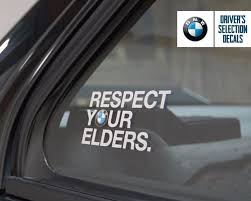 BMW Respect Your Elders Euro Style Window Sticker Decal | EBay